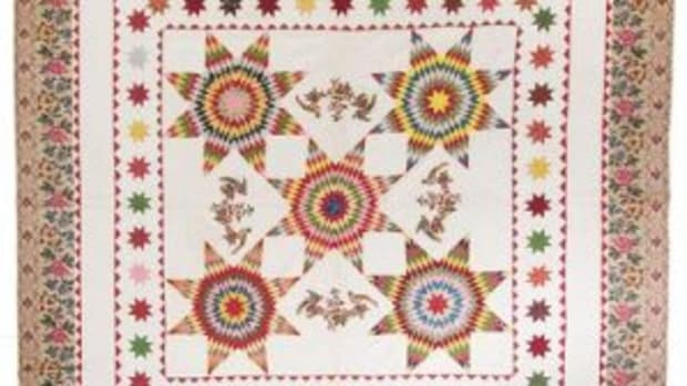Pieced and chintz applique quilt