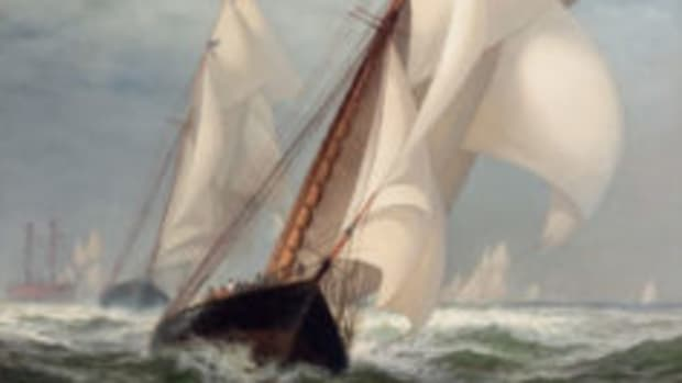 "Fine art auction: Edward Moran, Am. (1829-1901), ""The Winning Yacht"""