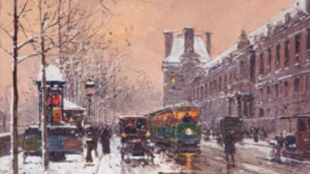 "Quai du Louvre en Hiver, oil on canvas, signed lower right, framed; 8"" x 12 1/2"" (sight), 14 3/4"" x 19"" (frame), $12,500. Image courtesy Cowan's Auctions"