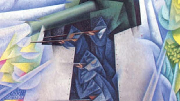 Gino Severini (French/Italian, 1883-1966), Armored Train in Action, 1915, measuring 45 5/8 by 34 7/8 inches. Housed in the Museum of Modern Art, New York, a gift of Richard S. Zeisler. © 2014 Gino Severini / Artists Rights Society (ARS), New York / ADAGP, Paris