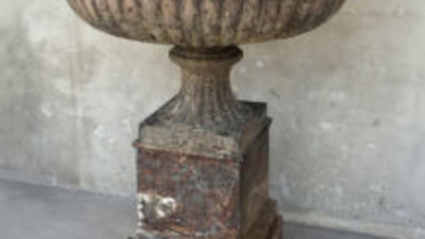outdoor antiques iron urn and pedestal