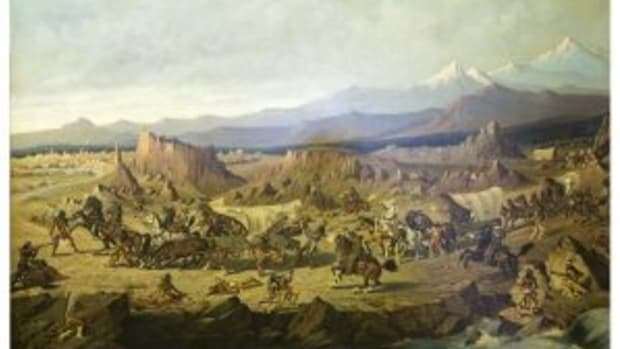 Baldwin Wagon Train Under Attack painting