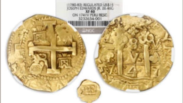 Cob 8 escudos regulated gold coin