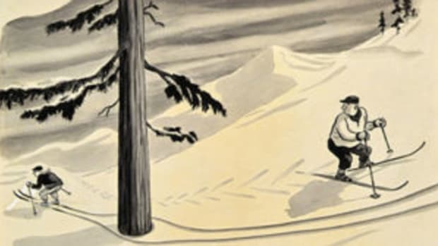 "Charles Addams, ""Downhill Skier,"" The New Yorker, January 13, 1940"