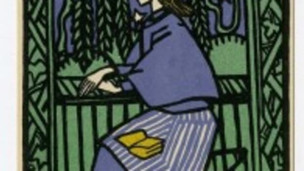 Wiener Werkstatte / Oskar Kokoschka postcard, 'The Woman in the Gazebo,' est. $1,000-$1,500. Morphy Auctions image