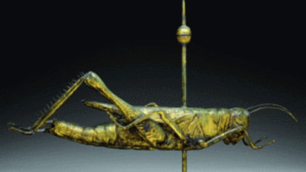 This hollow molded copper weathervane ($60,000-$80,000) is one of two dozen examples set to cross the auction block Feb. 4-6. Photo courtesy James D, Julia, Inc.