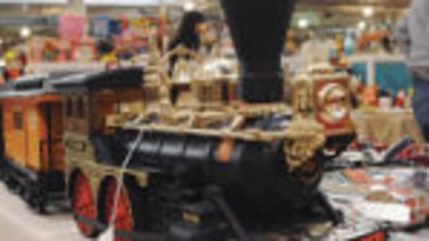 A train sits on display in a vendor's booth at the January Scott Antique Markets show in Columbus, Ohio.