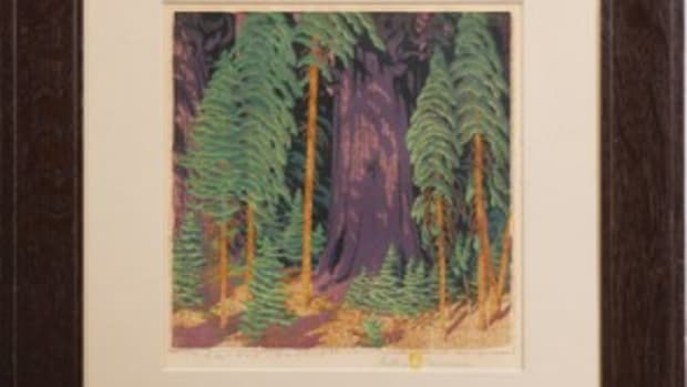 Baumann wood block print