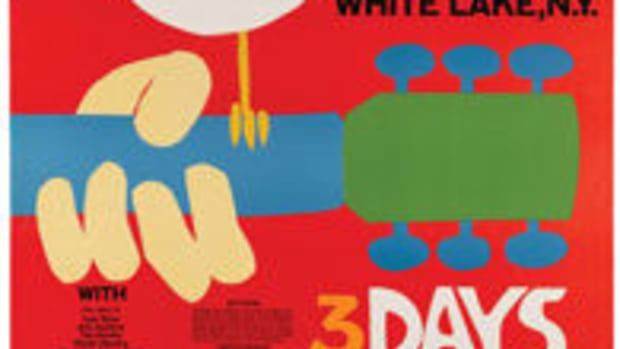 The Woodstock festival poster, arguably the most recognizable music poster in history, was designed by artist Arnold Skolnick. This rare original signed poster sold for $10,625 at auction. Image courtesy of Heritage Auctions