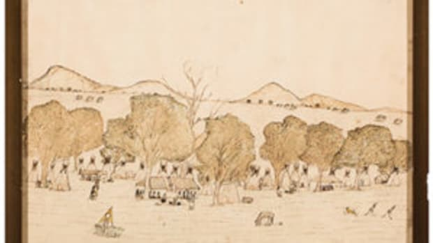 Kiowa ledger drawing by Etahdleuh Doanmoe, circa 1878, mixed media, titled at the bottom with pencil in the artist's hand: The Kiowa Camp in Indian Territory, $25,000.