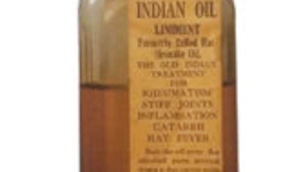 "Figure 1: White Eagle Indian Oil Liniment, 5 ½"", Clear, White Eagle Medicine Co., 222 Harrison St., Piqua, Ohio, 1885-1900, $50-$75."
