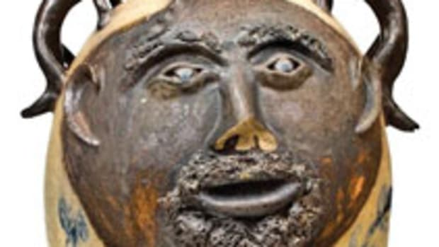 Record-setting stoneware face cooler, $177,000. Courtesy of Crocker Farm.