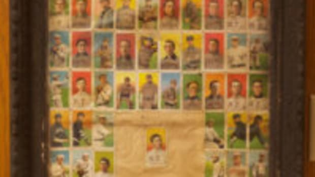 73-card display of T206 baseball cards