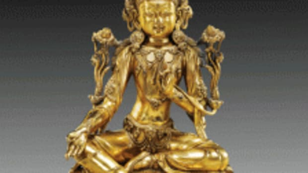 A 15th century early Ming Dynasty gilt-bronze Bodhisattva, 9-7/8 inches, was the auction's top lot, selling online for $350,000. I.M. Chait image