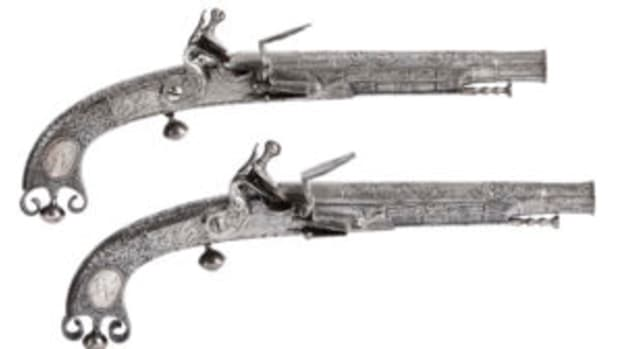Matched pair of 18th century Scottish flintlock pistols