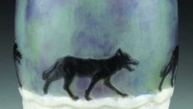 Wolf in Winter Argy-Rousseau vase