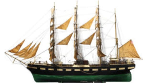 four-masted German ship model