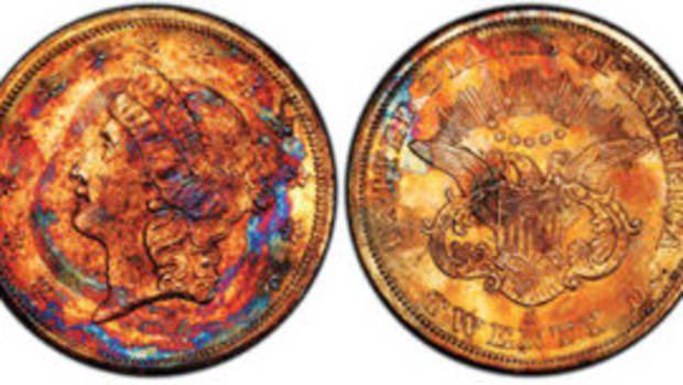 Supernova Gold Rush Shipwreck Double Eagle, $282,000. Photo courtesy of Professional Coin Grading Service, www.PCGS.com.