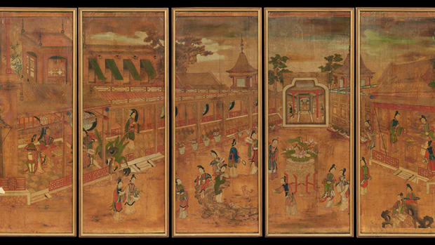 "Five Panels of Framed Chinese Hand-Painted Wallpaper, probably 19th century, decorated with Mandarin figures in gardens at plazas and a series of pagodas, in contemporary frames, each panel, h. 59"", w. 23"". ($800 - $1,200)"