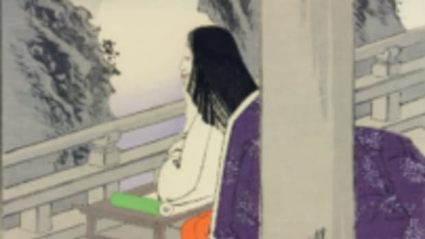 Murasaki depicted gazing at the Moon for inspiration