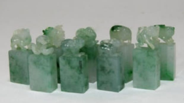 Chinese carved jadeite zodiac animal seals