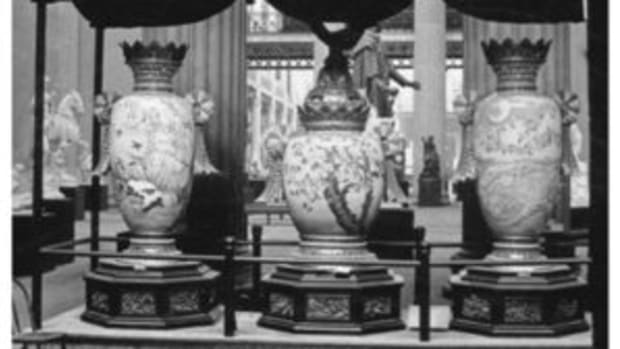 Pictured here in this historic photo is the Japanese cloisonné Triptych.