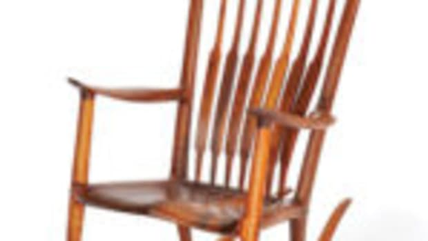 Sam Maloof (1916-2009 Alta Loma, CA), spindle-back rocking chair, 1981, $15,000-$25,000.