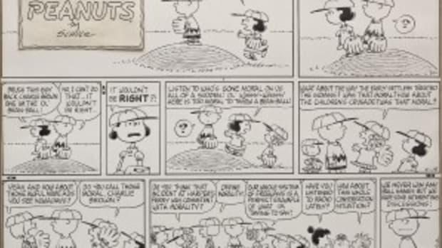 An original Charles Shulz comic strip, depicting the dialogue of the 'Peanuts' gang during a baseball game, realized $27,000. (Photo courtesy Cordier Auction)
