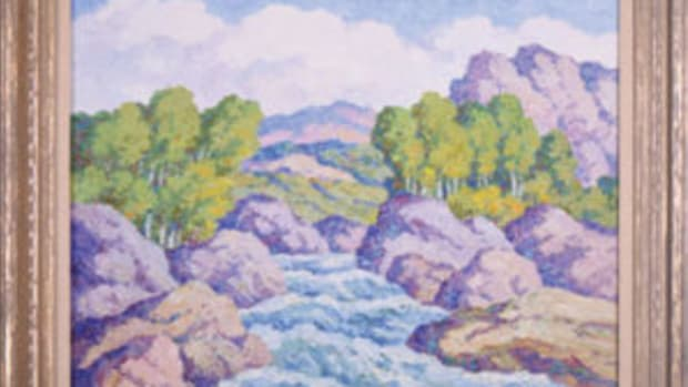 Original oil on board painting signed by the Swedish-born American painter Birger Sandzén (1871-1954), titled In Boulder Canyon, Colorado (1949), $39,000.