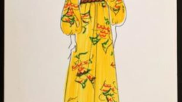 Karl Lagerfeld (German, 1933-2019), original drawing on card stock of peasant-style dress with hand coloring by the designer. Sold for $2,990.
