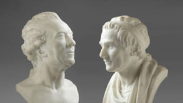 Two rediscovered marble busts by the French 18th century sculptor Jean-Antoine Houdon (French, Versailles 1741-1828 Paris), $1.475 million. Photo courtesy Cottone Auctions, www.cottoneauctions.com