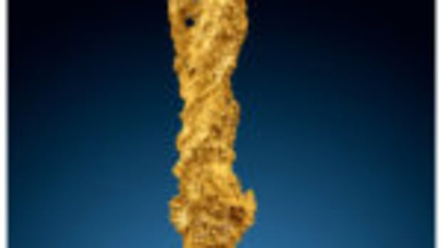 One-of-a-kind gold nugget, measuring nearly 11 inches in length and weighing 1,241 grams (39.9 troy ounces), estimate: $70,000-$100,000. Courtesy of Heritage Auctions