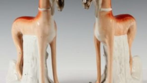 Pair 19th c. Staffordshire whippet dogs