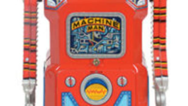 "Masudaya ""Machine Man"" tin-litho battery-operated robot from Gang of Five series, near mint, one of the finest examples known, consigned by original owner, sold for $86,100. All images are courtesy of Morphy Auctions"