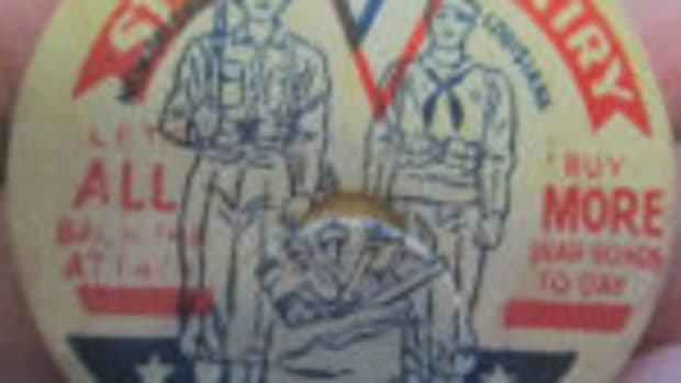 "Bottle cap: ""St. Charles Dairy - Let's All Back The Attack (depiction of a Soldier and Sailor) Buy More War Bonds Today"""