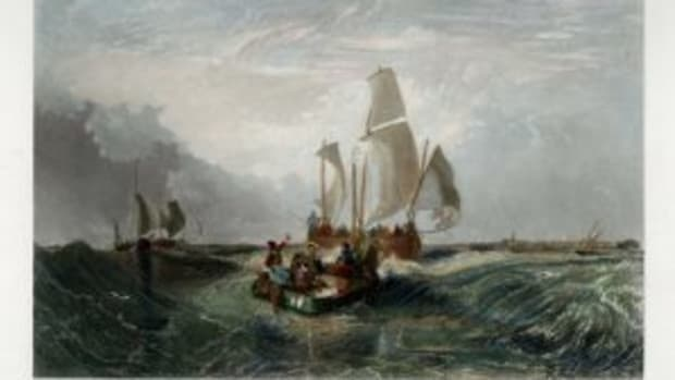 The hand-colored engraving Boats Off Calais, $145, at The Old Print Shop. Courtesy of The Old Print Shop