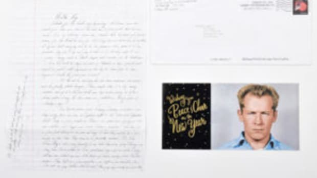 2015 holiday card sent by gangster Whitey Bulger featuring his 1959 Alcatraz mugshot and a cordial seasonal greeting. Sold together with a handwritten letter for $1,430.