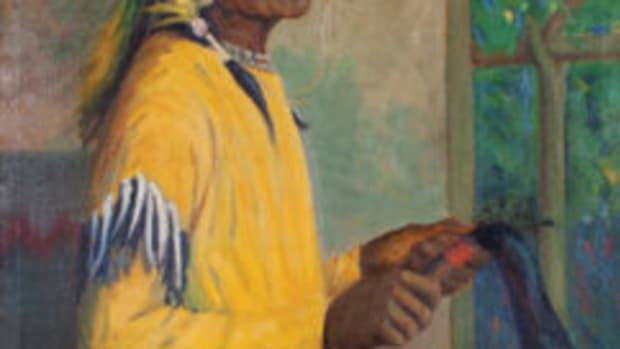 "Portrait of Lazy Boy - Blackfoot, oil on canvas, signed Kathryn W. Leighton, 44"" x 36"" ($15,000-$20,000)"