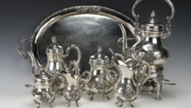 Seven-piece German silver set