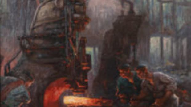 "German Expressionist painting of factory workers by Anton ""Toni"" Wolter,"