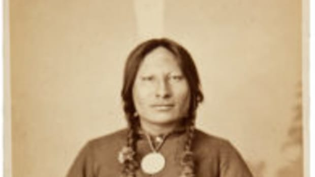 In this photo taken in the late 1800s by O.S. Groff, Sioux Leader Rain-in-the-Face wears a military jacket and a Presidential Peace Medal, and a large eagle feather in his braided hair. Images courtesy of Heritage Auctions