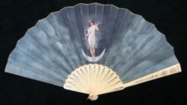 Mythological scenes, gods and goddesses were common subjects on fans in the 18th and 19th centuries. This one from the late 19th century features Diana, Goddess of the Moon. From a private collection.