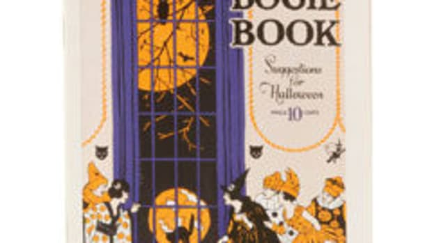 "Dennison's Bogie Books were the premiere guides for planning a fun and festive Halloween party. They are also collectible. Soft cover 1921 Bogie Book, 7-3/4"" x 5-1/4"", 32 numbered pages, $225."