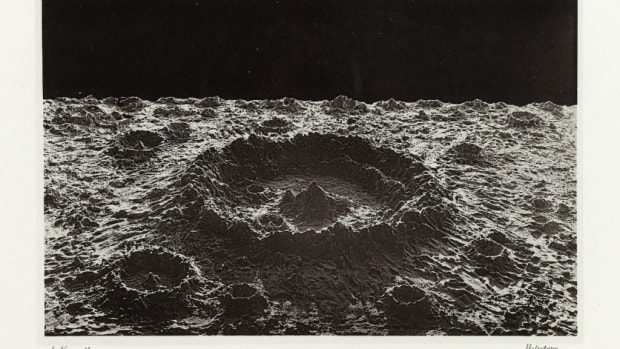 Normal lunar crater. All photos are from the book, The Moon: Considered as a Planet, a World, and a Satellite, and in the public domain.