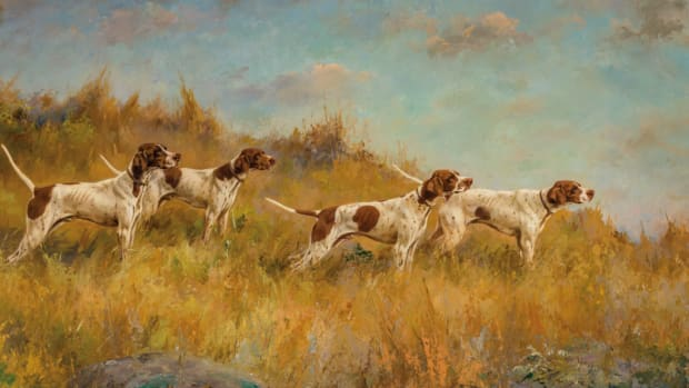 "Percival Rosseau (American, 1859-1937), Pointers on the Hunt, 1927, oil on canvas, signed and dated, 23"" x 32-1/4"", was top lot at $100,000."