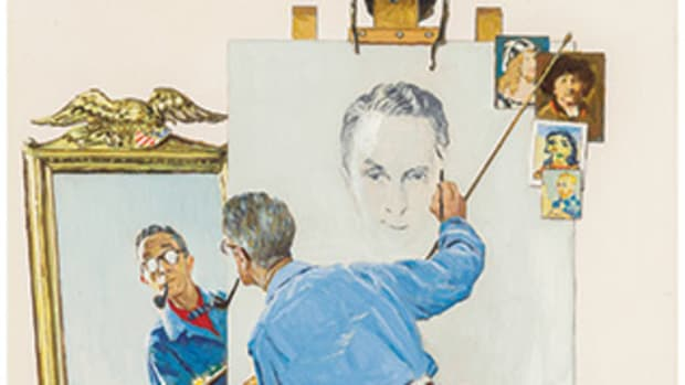 Norman Rockwell emerged as America's favorite artist by the mid-20th century. TRIPLE SELF PORTRAIT was created for a 1960 cover of The Saturday Evening Post. Image courtesy of Heritage Auctions.