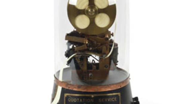 This rare, early 1900s Canadian National Telegraphs stock ticker was the top lot at $11,800.