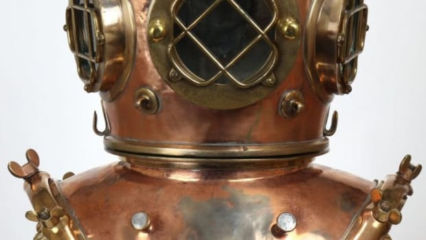 A 19th century Alfred Hale diving helmet sold for nearly $13,000 at auction.