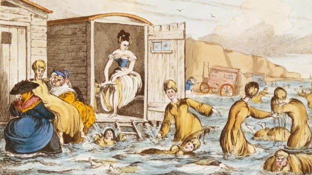 """Mermaids at Brighton"" swim behind their bathing machines in this engraving by William Heath, circa 1829."