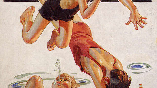 """Pool"" by J. C. Leyendecker, 1935."